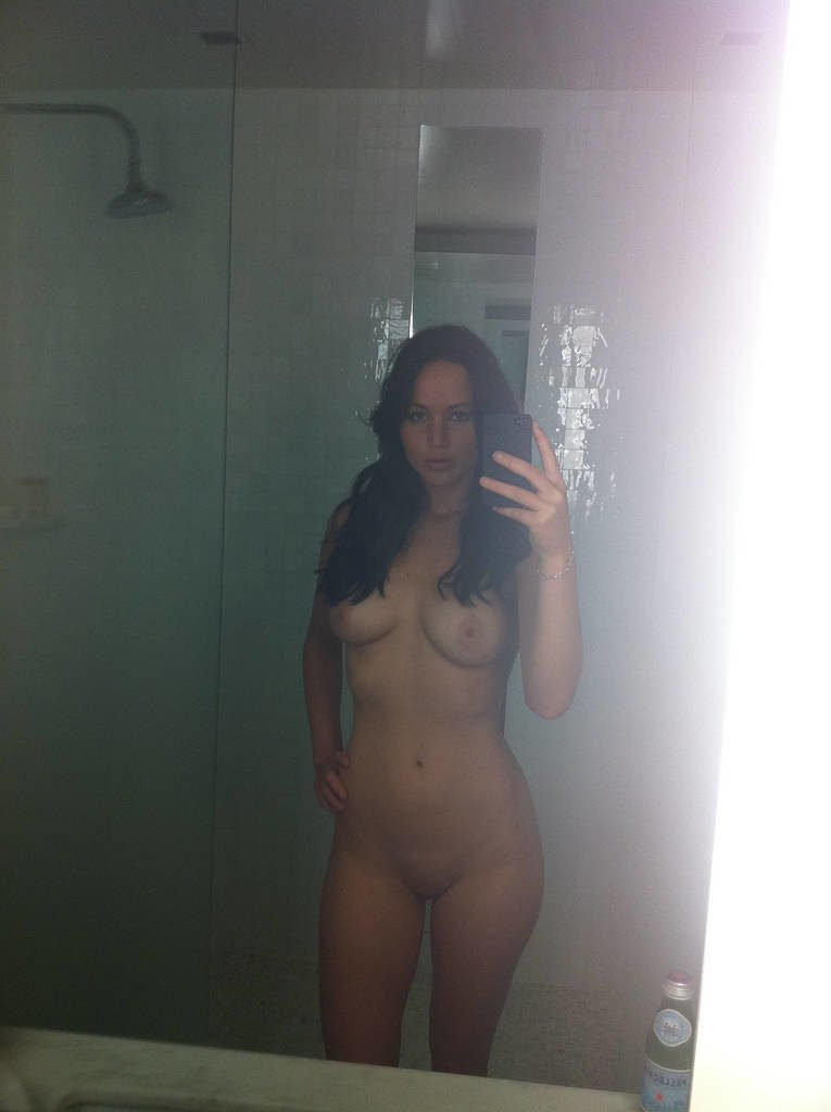 Actress Jennifer Lawrence fully naked and taking a bathroom mirror pic
