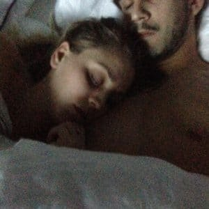a sleeping selfie of kaley and her boyfriend