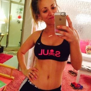celebrity kaley cuoco takes a stomach pic in the mirror