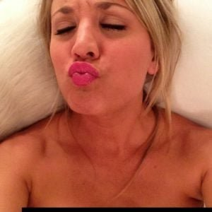 leaked selfie of Kaley Cuoco making a kissy face