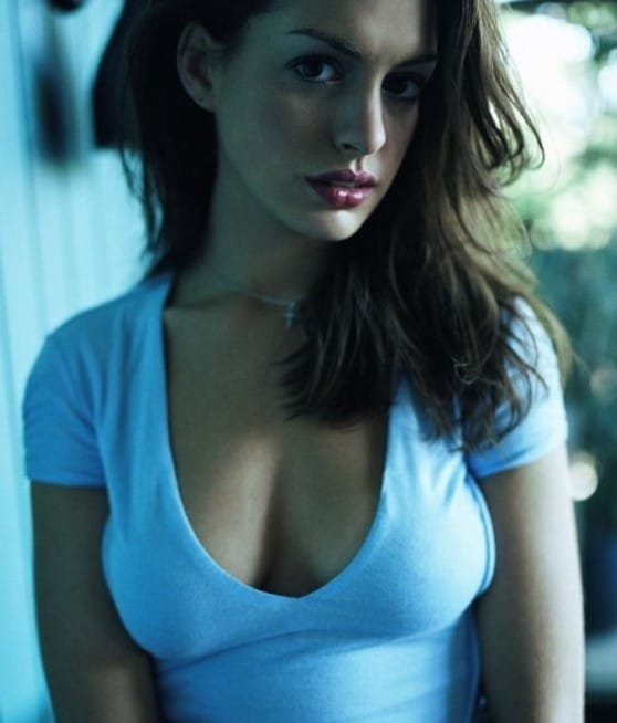 Anne Hathaway cleavage in white t-shirt looking hot