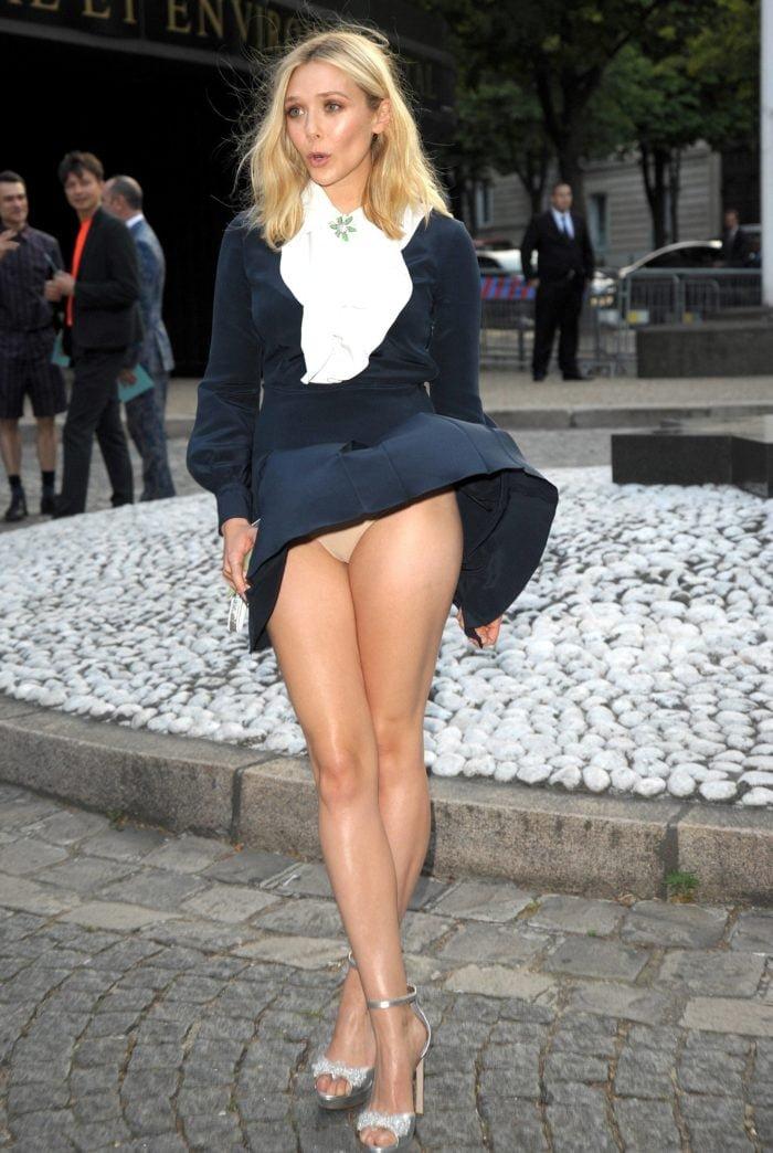 Elizabeth Olsen upskirty showing nude undies