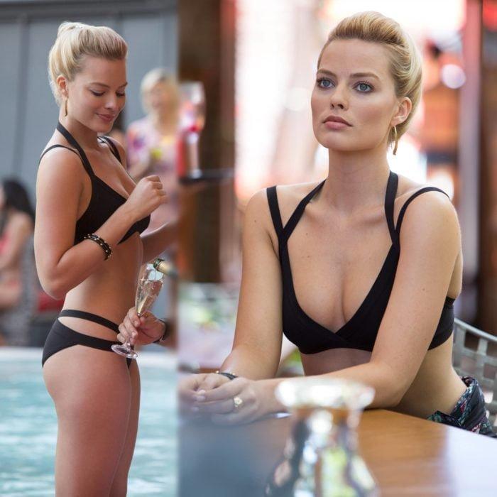 Margot Robbie in black bikini