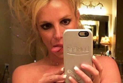 Selfie photo of Britney Spears sticking out her tongue