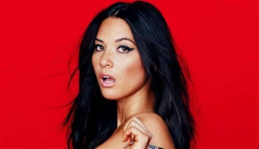olivia munn modeling with mouth open