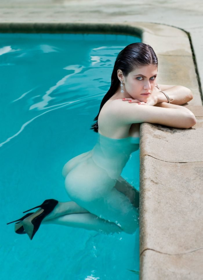 Alexandra Daddario nude in swimming pool with heels on
