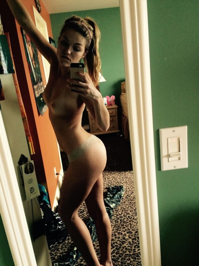 Lili Simmons completely naked mirror selfie with arm in the air