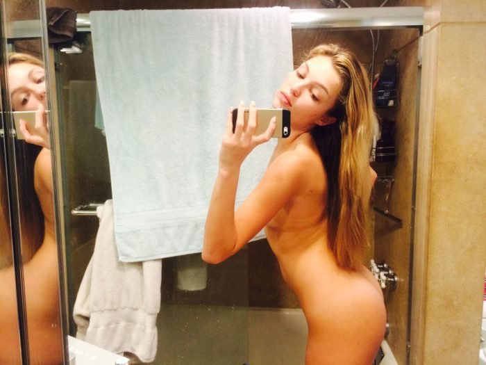 Lili Simmons nude bathroom selfie sticking her ass out