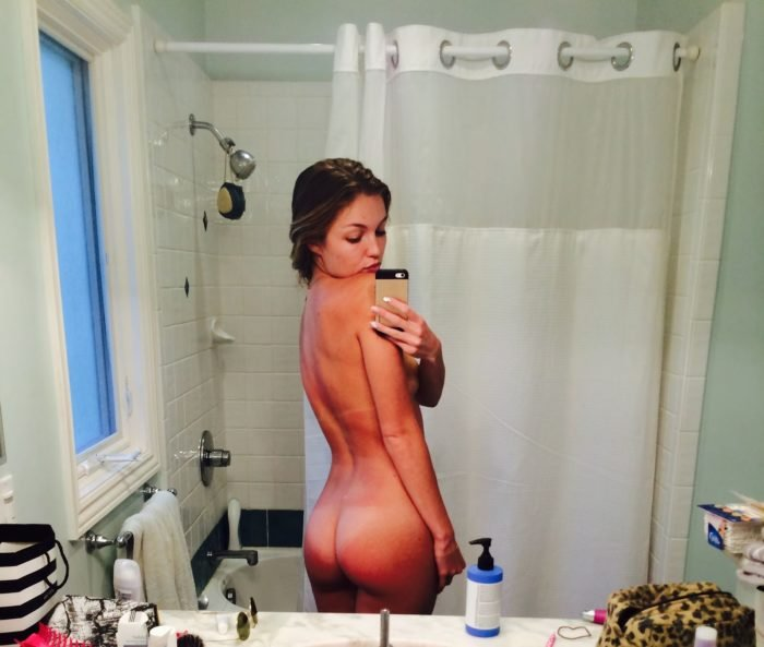 Lili Simmons taking a selfie in the bathroom completely nude showing her ass
