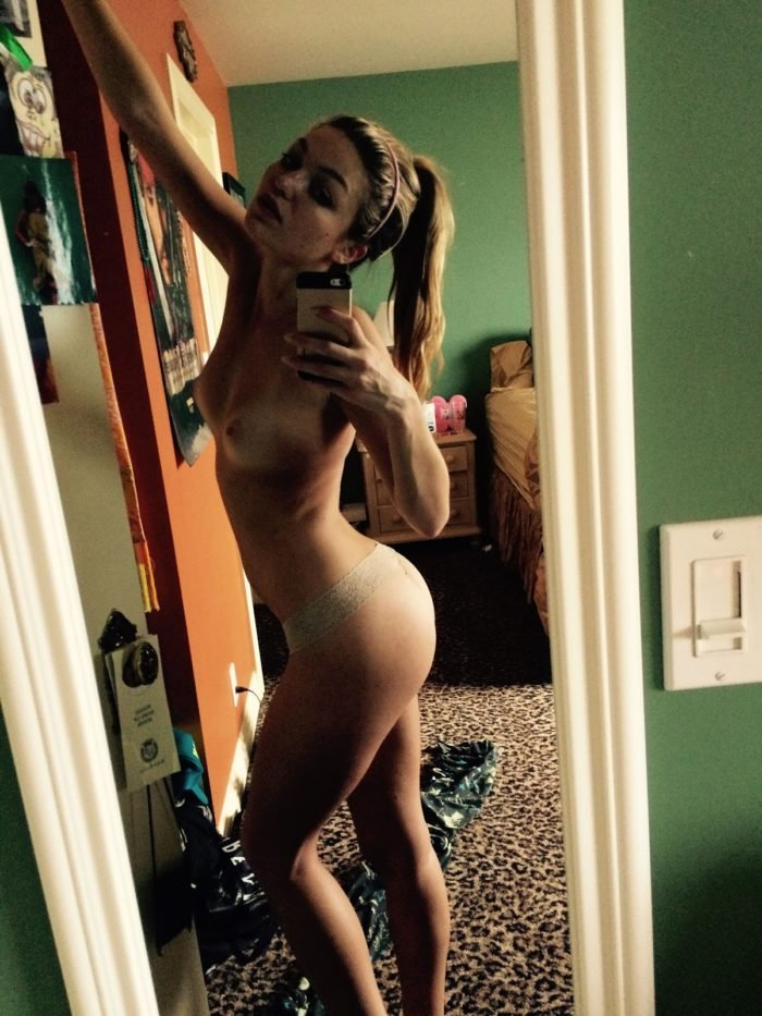 Lili Simmons topless mirror selfie with pink thong