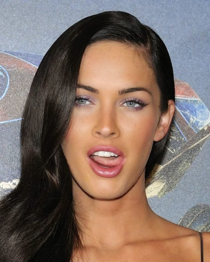 Megan Fox sticking her tongue out and looking hot