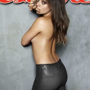 Mila Kunis topless wearing leather pants for Esquire