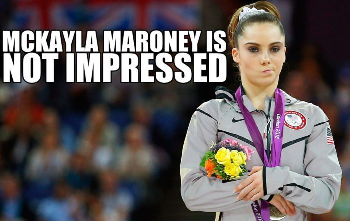 meme of McKayla Maroney not impressed when taking the silver medal in the Summer Olympics
