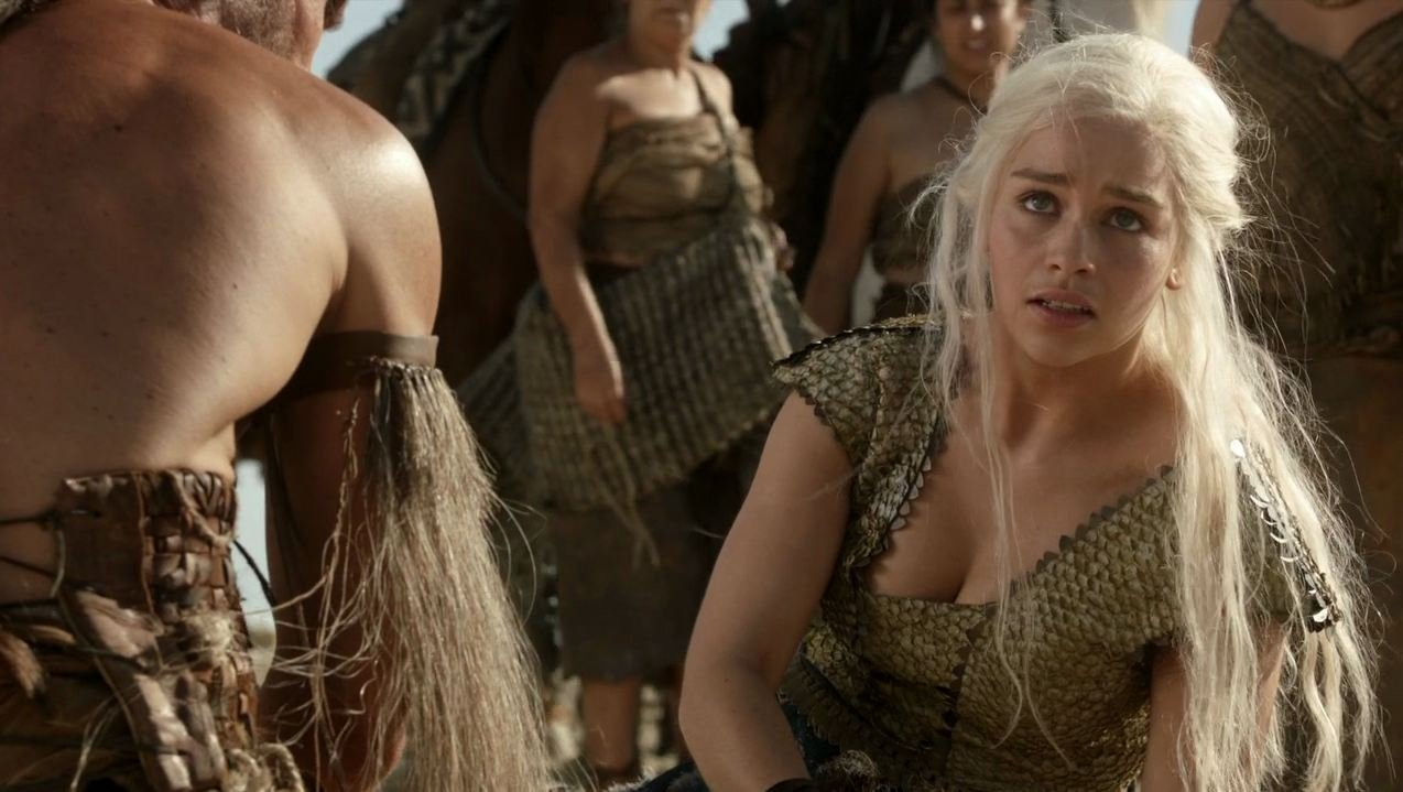 Emilia Clarke showing off cleavage hair messy