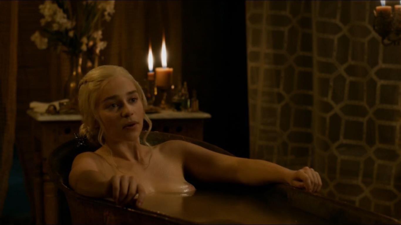 Emilia Clarke soaking in a bathtub nipples exposed