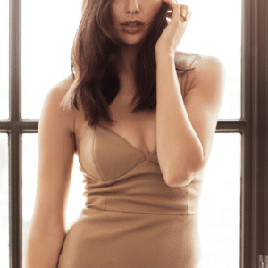 Gal Gadot in a camel colored dress showing cleavage