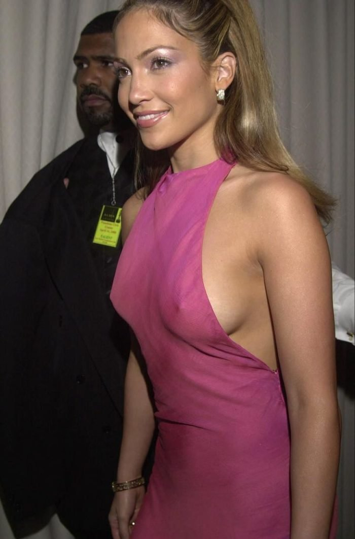 JLo in a pink dress with her nipples showing
