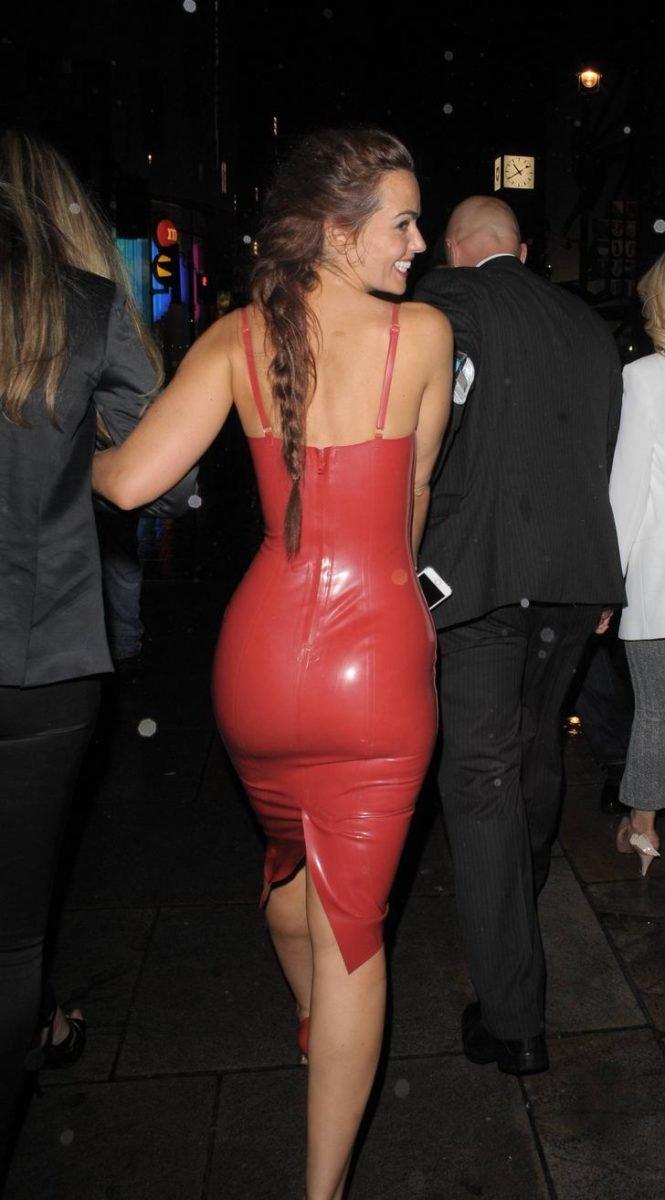 Jennifer Metcalfe in latex red dress walking away