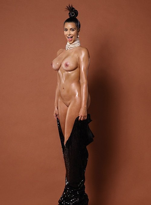 Kim Kardashian naked for Paper magazine with pearls around her neck