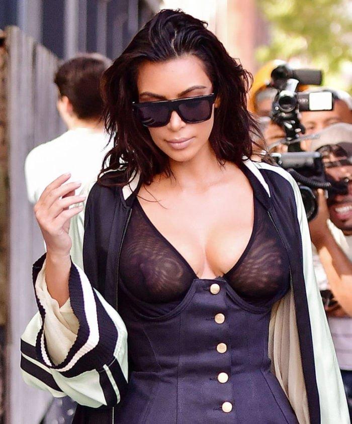 Kim Kardashian walking in NYC with see through top