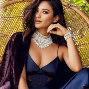 Shay Mitchell with diamond necklace