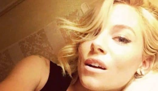Sienna Miller taking a seductive selfie with short hair