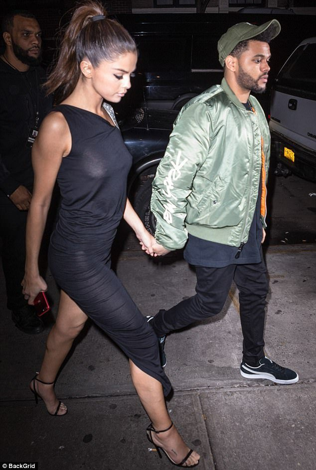 Selena see through black dress with her boyfriend The Weekend