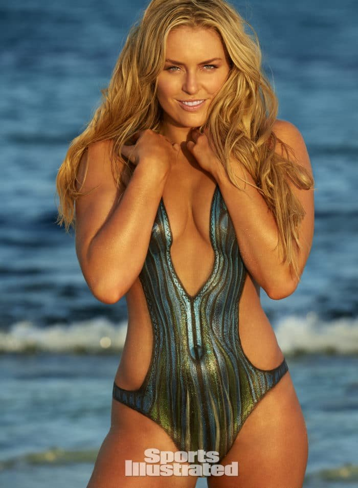 Lindsey Vonn in painted on swimsuit for Sports Illustrated